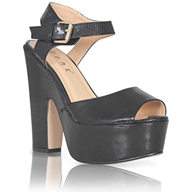 74331efa64f CORE COLLECTION NEW WOMENS LADIES PLATFORM HIGH CHUNKY HEEL PEEP TOE ANKLE  STRAP SANDALS SHOES