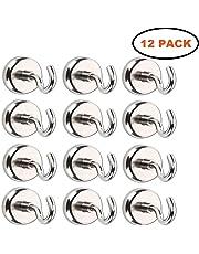 Gancio magnetico, potente magnete al neodimio supporto a gancio, magnete con gancio ultra forte al neodimio zincato (12 Pack)