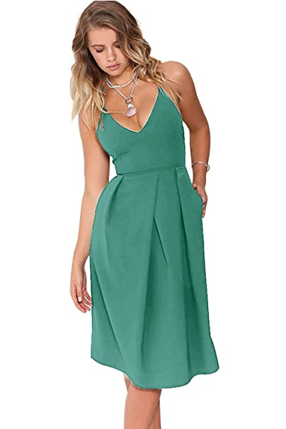Christmas Party Dresses.Eliacher Women Deep V Neck Adjustable Spaghetti Straps Sexy Backless Christmas Party Dresses With Pocket