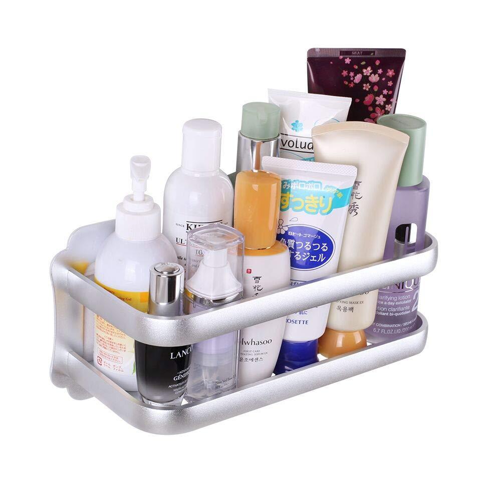 Gricol Bathroom Shower Shelf Wall Shower Caddy Space Aluminum Self Adhesive No Damage Wall Mount (Silver 98303)