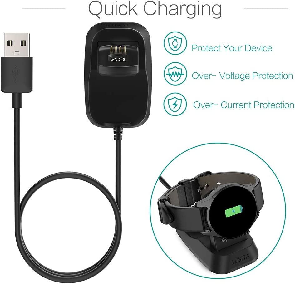 2-Pack TUSITA Charger for Ticwatch C2 Smartwatch Accessories USB Charging Cable Charging Cradle Dock 100cm