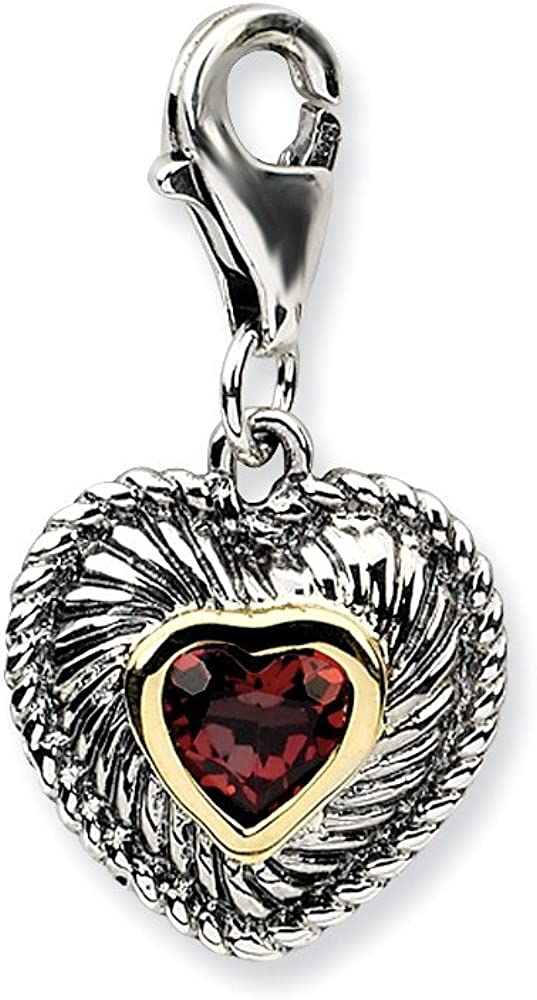 Best Designer Jewelry Sterling Silver w//14k Garnet Antiqued Charm