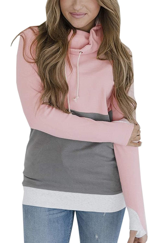 Tomwell Damen Herbst Pullover Casual Patchwork Pulli Langarm Colorblock Kordelzug Rollkragen Sweatshirt mit Daumenloch