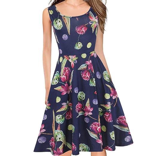 fb38d61ca56b Redacel Women's Fashion Sleeveless Print Stretch Swing A-Line Skirt ...