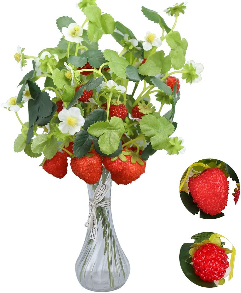 Felice Arts 6 Pack Artificial Strawberry Raspberry Stems Faux Holly Red Berry Fruits for Christmas Tree Ornaments Table Arrangements Festival Holiday Home Decor