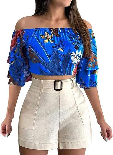 Poachers Camisas Mujer Manga Corta Tops Mujer Lenceria Camisas Mujer Verano Tallas Grandes Blusas para Mujer Estampados Camisetas Mujer Deporte Tops Mujer Fiesta Sexy Blusas Mujer Boda: Amazon.es: Ropa y accesorios