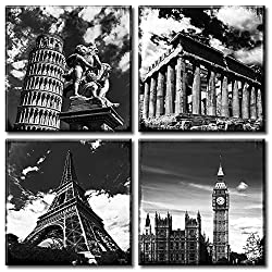 Black and White Art Canvas Print Wall Decor European Architecture Famous Leaning Tower of Pisa - Eiffel Tower - Parthenon & London Big Clock City Landscape Pictures Paintings for Bedroom Home Office