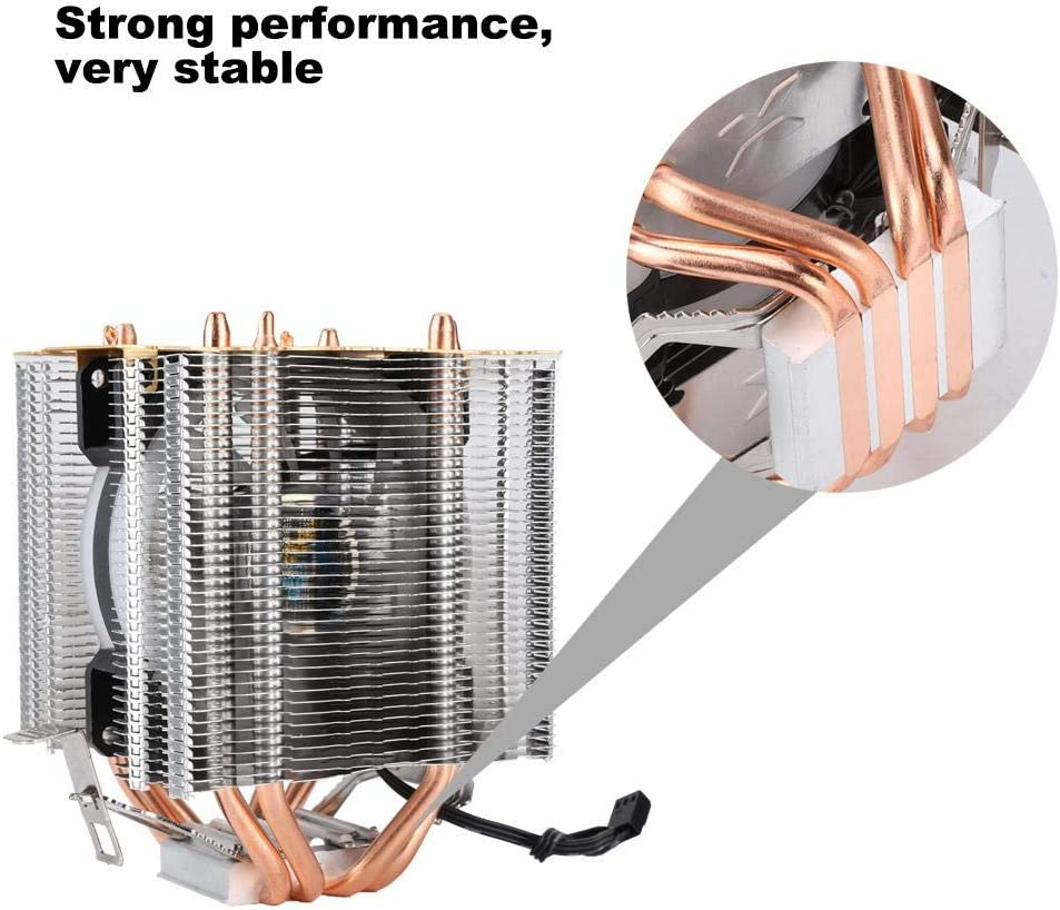 fosa Radiator with 4 Pure Copper Heat Pipes Five Color Light Copper Radiator Add Cover Ice Tower Type CPU Cooler Cooling Fan 9cm Good Heat Dissipation