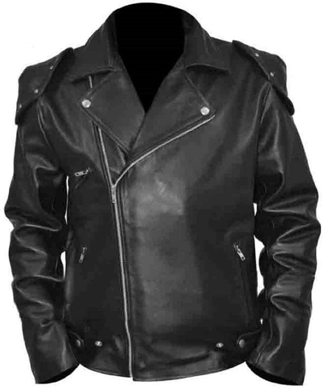 Bestzo Mens Fashion Brando Style Real Leather Jacket Black