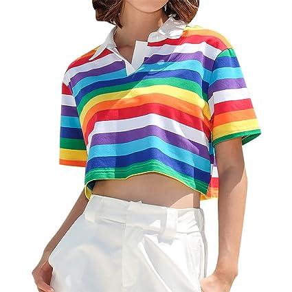 Amazon Com Women S Rainbow Striped Short Sleeve Polo Shirt