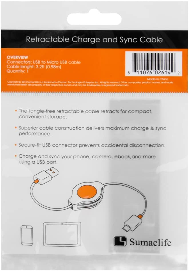 Orange Vangoddy 50 Pack Micro USB Date Line Up to 3.2FT Nickel Plated Plugs housing for Samsung HTC LG and More Android Devices