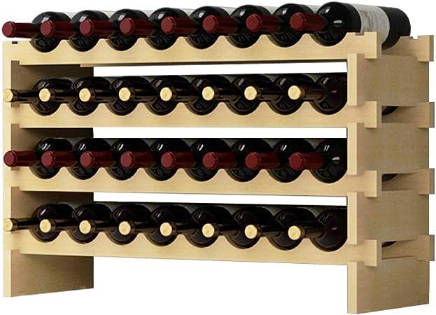 Dlandhome 4 Etagere Pour 32 Bouteilles Etagere A Vin Casier A Bouteille Modulable Range Bouteilles En Bois 90 X 30 X 54 Cm Amazon Fr Cuisine Maison