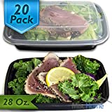[20 Pack] 28 Oz. Meal Prep Containers BPA Free Plastic Reusable Food Storage Container Microwave & Dishwasher Safe w/ Airtight Lid For Portion Control & Bento Box Lunch Box