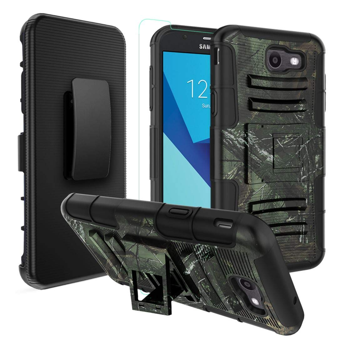 Samsung Galaxy J3 Prime Case, [Heavy Duty] Armor Shock Proof Kickstand Rugged Case with Belt Clip Holster and Tempered Glass Screen Protector for Galaxy J3 Released in 2017 - Camo OEAGO