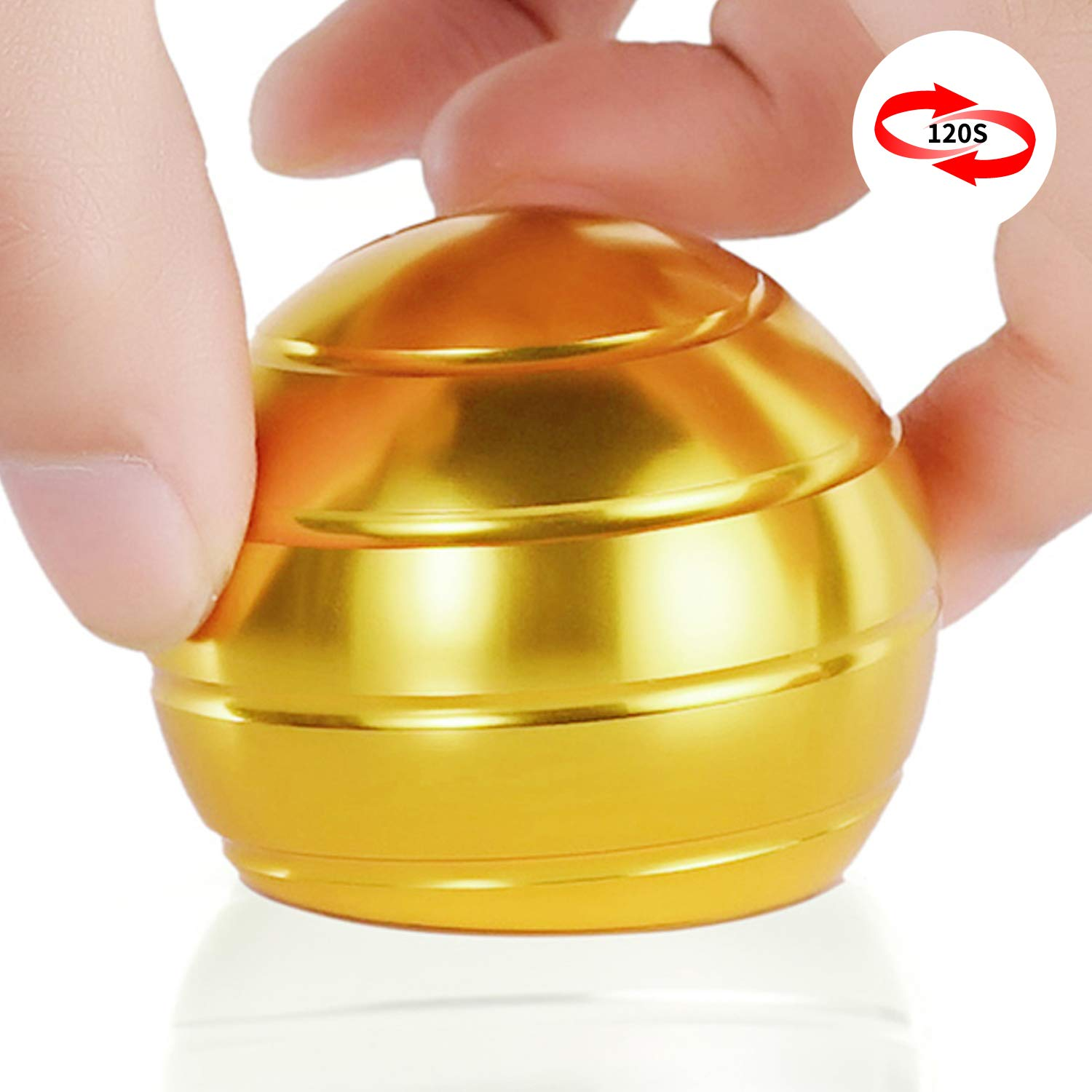 DESDK Office Stress Relief Gadgets Metal Kinetic Spinning Desk Toy New Version Fidget Toy Ball for Adults & Kids Anti Anxiety ADHD Autism Stress Reliever Inspire Creativity (Gold) by DESDK