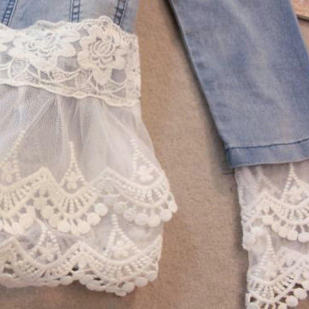 Avondii J1023 Veste courte en jean pour femme avec dentelle et perles Bleu