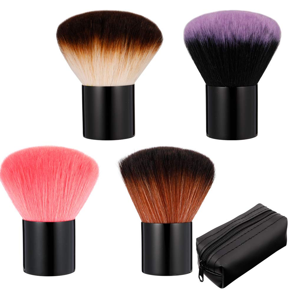 KINAKE 4 Pack Kabuki Makeup Brush Powder Brushes Foundation Brush Blush Brush Bronzer Brush Face Blender Brush Nail Art Dust Brush Travel Foundation Brush for Blush