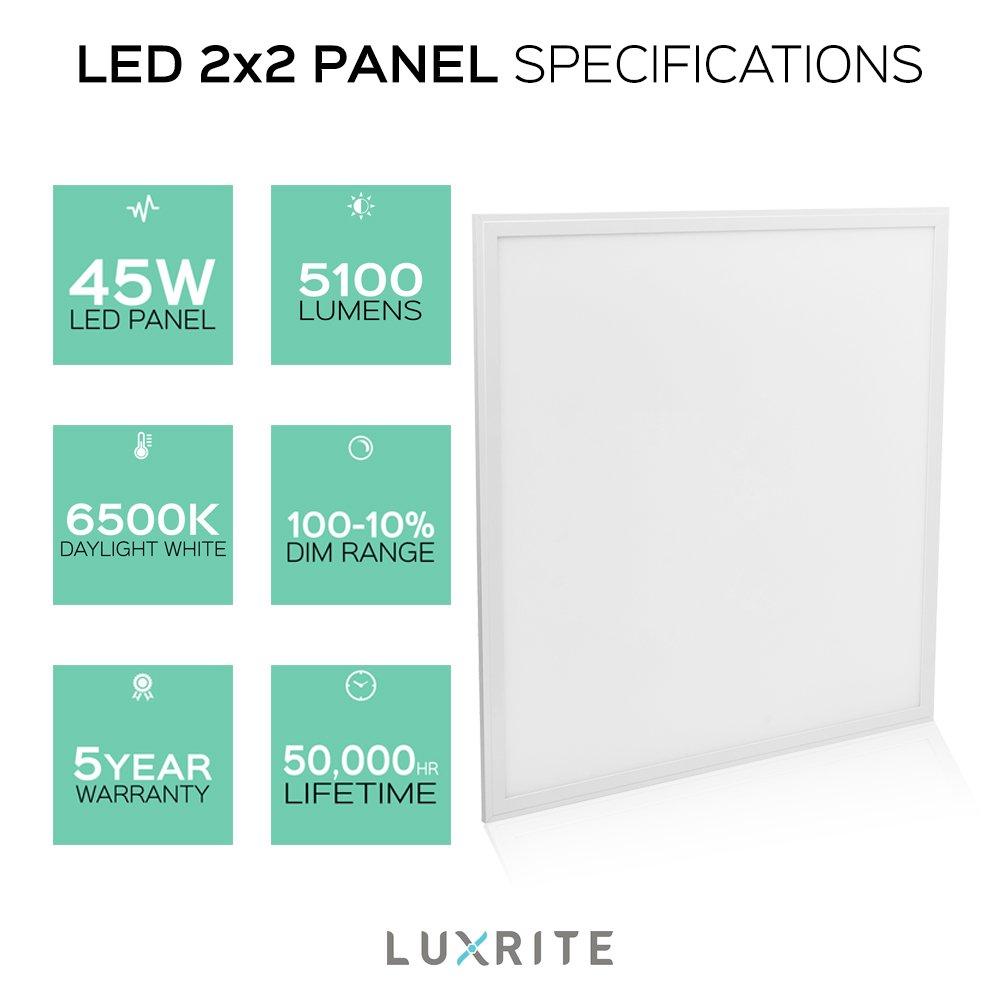 Luxrite LED Light Panel, 2x2 FT, 45W, 6500K Daylight White, 5100 ...