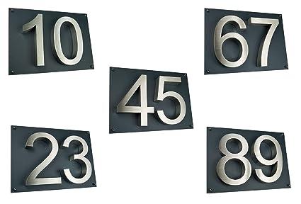 número de casa/placa acero inoxidable H16 cm en 3d diseño ...