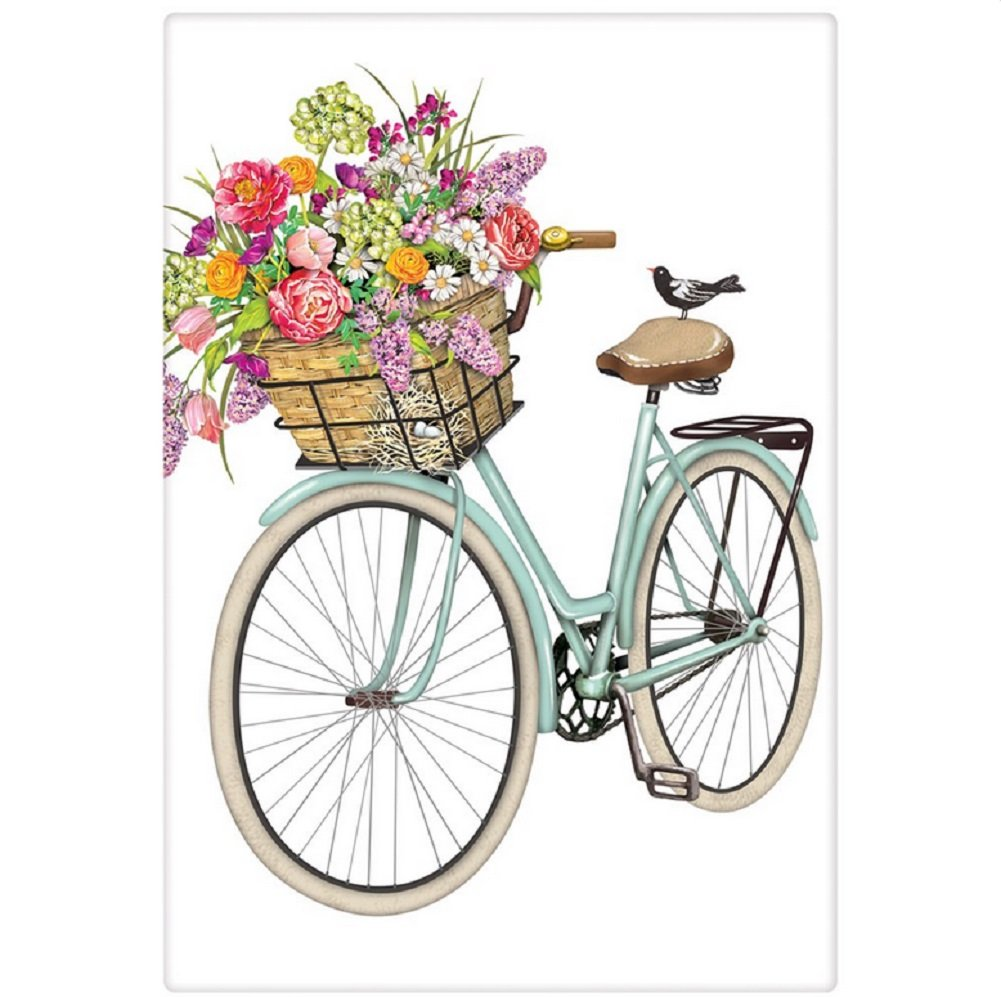 Mary Lake Thompson Flour Sack Towel - Bike, Flower Basket, Eggs & Nest, Bird