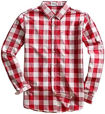 MiCotton Men's Long Sleeve Button Down Cotton Plaid Casual Shirts