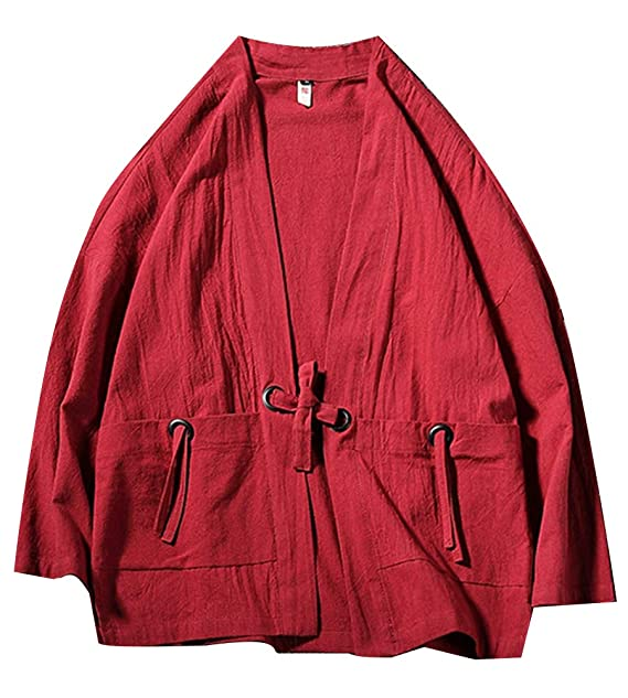 Kimono, Hombres Manga Larga Color Sólido Suelto Retro ...