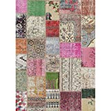 RUGGABLE Washable Indoor/Outdoor Stain Resistant 5×7 (60″x84″) Area Rug 2pc Set (Cover and Pad) Patchwork Boho Multicolor Review