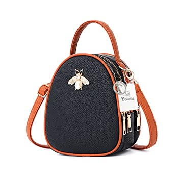7f640ce5ee76f Amazon.com  Yoome Faux Leather Small Crossbody Shoulder Bag Multi-Pockets  Bee Series Cell Phone Purse Mini Satchel Handbag Wallet for Women  yoome