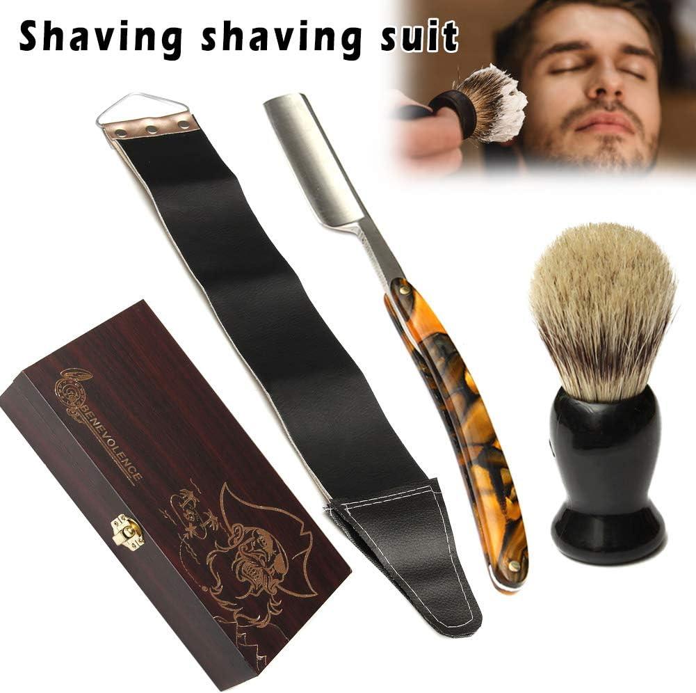 MAyouth Kit de afeitadora de Barba para Hombre, 4 Piezas/Juego de afeitadora para Hombres, Kit de Afeitado Recto Plegable con Caja de Madera: Amazon.es: Hogar