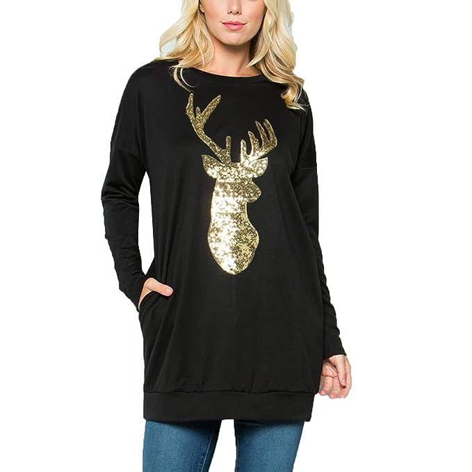 c26e7f145b2e0 Camiseta Bordada de Lentejuelas Bordado Camiseta de Manga Larga con Cuello  en Pico de Mujer (