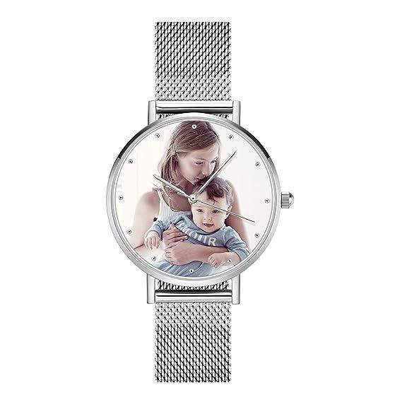 SOUFEEL Reloj Personalizado Foto y Grabado Caracteres Analógico de Cuarzo  de Pulsera Malla De Banda Plata e34b20724407