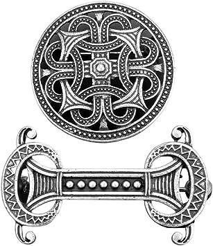 Sharplace 2 Piezas Retro Medieval Vikingo Broche Abrigo Chal Su/éter Collar Joyer/ía Pin