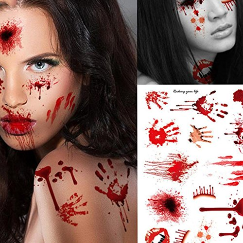 Gotd Halloween Props Decorations Décor 5PC Wound Scab Blood Halloween Scar Tattoos Temporary Tattoos Sticker Decor (#4) (Tattoo Paper Michaels)