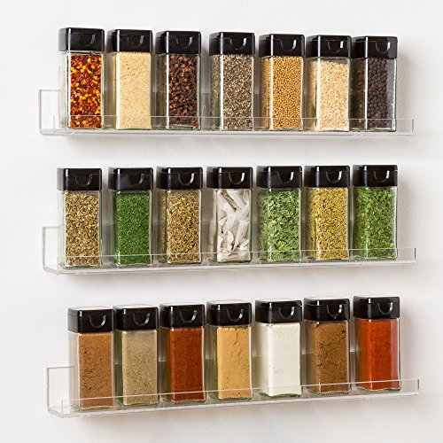 The U0027Invisibleu0027 Acrylic Spice Rack: Strong, Sturdy, Space Saving, Three  Clear Floating Shelves (15 X 2 Inch)   3 Tiered Shelf Set, Easy To Wall  Mount
