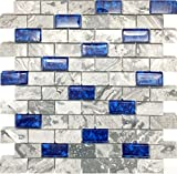 Hominter 11-Sheets Navy Blue Glass Mosaic Tile Rectangle, Gray Natural Marble 1' x 2' Subway Mini Brick, Wall and Floor Tiles in Bathroom and Kitchen Backsplash NB03