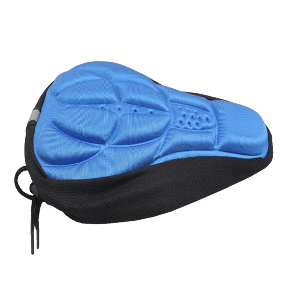 Huangyuan太いとソフトジェル自転車サドルクッション厚自転車シートカバーパッドwith Water & Dust Resistant a358ブルー B079FLKQZM