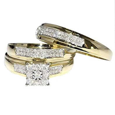 Midwest Jewellery 1 3ctw Trio Wedding Rings Mens And Womens 10k Gold