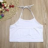 Women Cute Prints I Have No Tits Letter Sleeveless Halterneck Tank Crop Tops Vest Blouse Shirt (S, White)