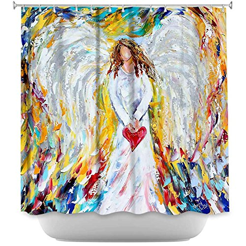 Shower Curtain Artistic Designer from DiaNoche Designs by Artist Karen Tarlton Unique, Cool, Fun, Funky, Stylish, Decorative Home Decor and Bathroom Ideas - Angel of My Heart