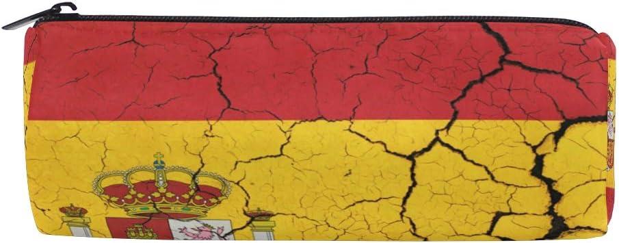 Bonie - Estuche para lápices con diseño de bandera de España, estilo retro, para la escuela, papelería, bolígrafos, con cremallera, bolsa de maquillaje: Amazon.es: Oficina y papelería