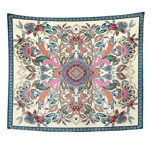Emvency Tapestry Wall Hanging Lovely Ethnic Indian Flowers Beautiful Bandana Kerchief Napkin Pastel Pink Blue 50