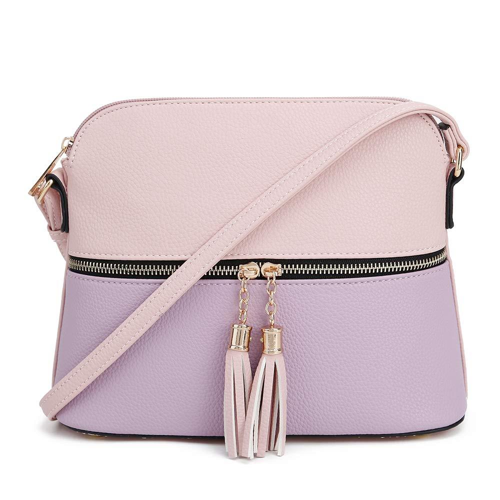 SG SUGU Lightweight Medium Dome Crossbody Bag with Tassel | Zipper Pocket | Adjustable Strap (Blush/Lavender)