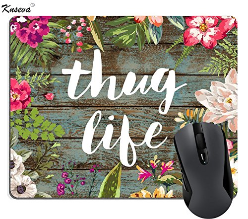 Knseva Cute Mouse Pad, Vintage Colorful Floral Wreath Retro Old Wood Art, Thug Life Funny Quotes Mousepad Mat