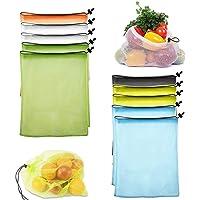 Bolsas Ecológicas, BONKEEY Reusable Mesh Produce Bags, Contiene Bolsas de Varios Colores- 35cm x 40cm-Con Cordón…