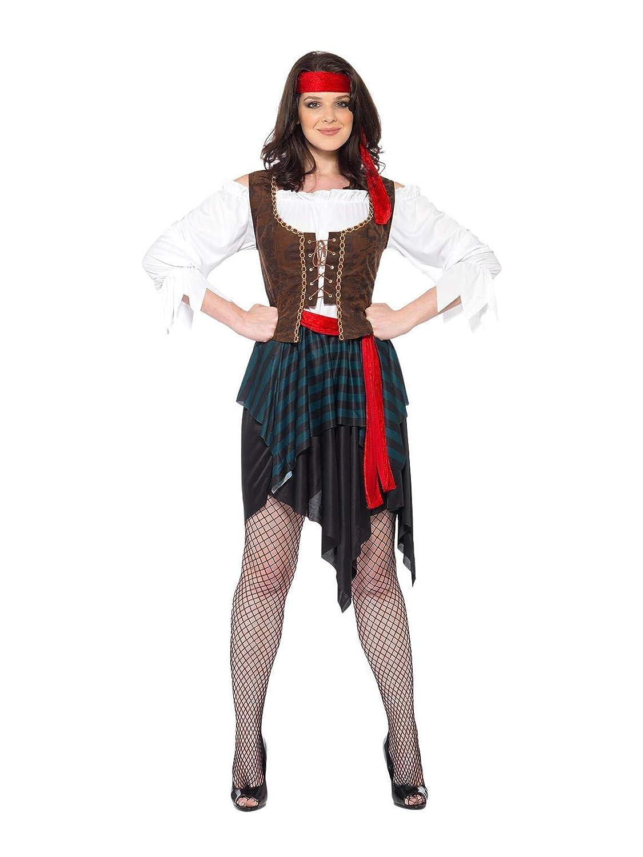 SmiffyS 20470S Disfraz De Mujer Pirata Camisa Con Chaleco Unido, Falda Cinturón Y Banda Para El Pelo, Marrón, S - Eu Tamaño 36-38 (Set De 36)
