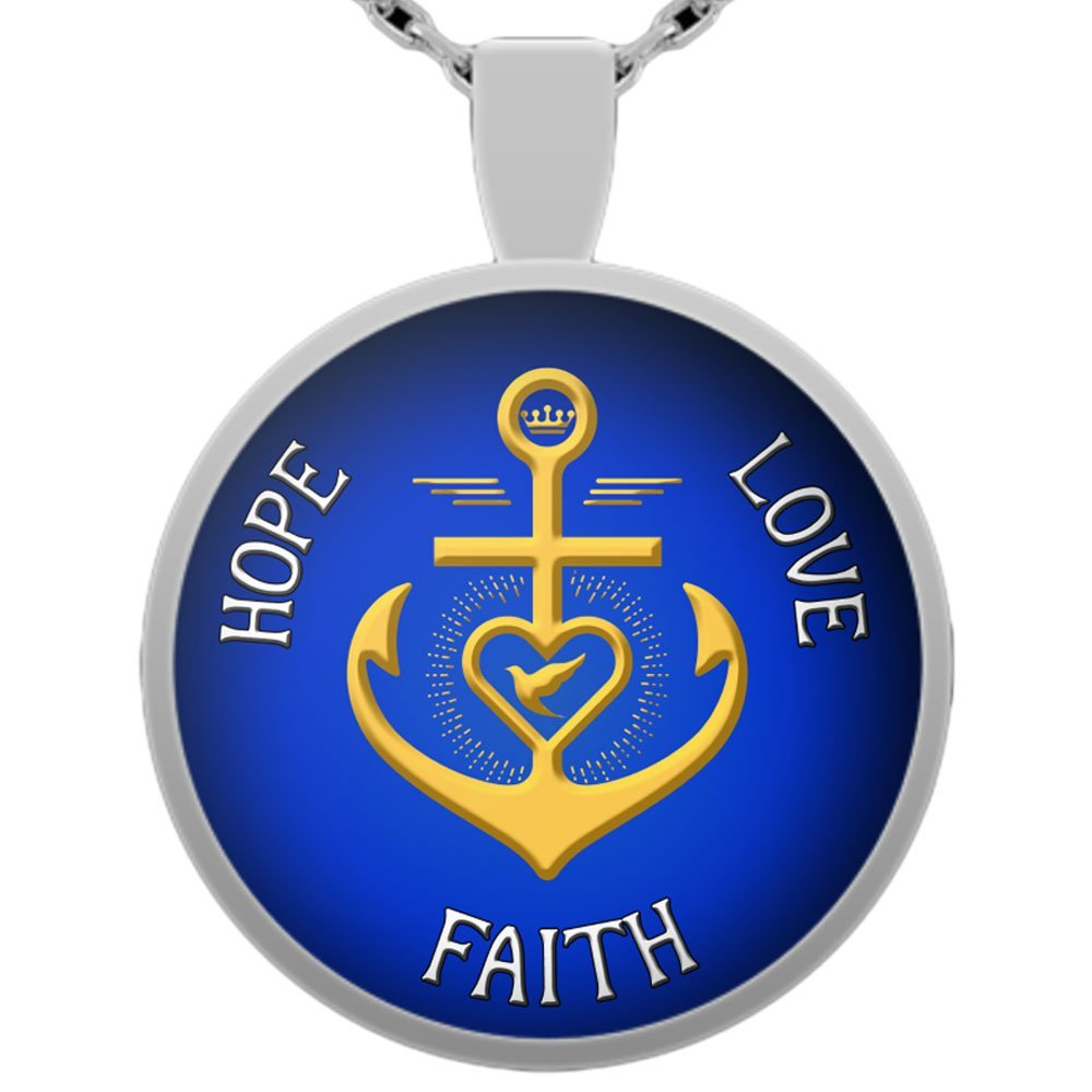 Pendant Necklase Hope Love Faith Christian Love Necklace Gift Anchor Cross Dove Heart Silver Plated