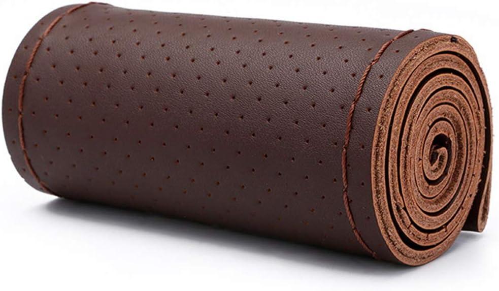 Matilda530 Hand N/ähen Lenkradbezug Leder Autohandgriff-Abdeckung Voll Loch LKW PKW Dedicated Lenkradbez/üge Farbe : Black Black Lines, Size : 50cm