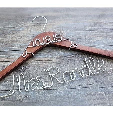 Personalised Bridal Hanger Wire Hanger 2 Lines, Custom Bridal Dress ...