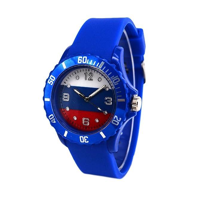 Reloj con la bandera de Rusia con pulsera de Silicona
