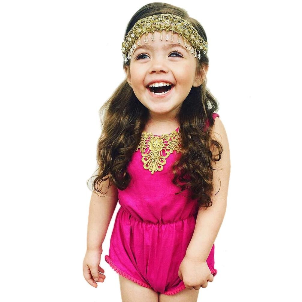For 0-24 Months Baby,DIGOOD Newborn Infant Baby Girls Solid Lace Romper Jumpsuit Sunsuit Dress Outfits